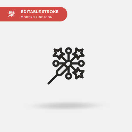 Sparkler Simple vector icon. Illustration symbol design template for web mobile UI element. Perfect color modern pictogram on editable stroke. Sparkler icons for your business project