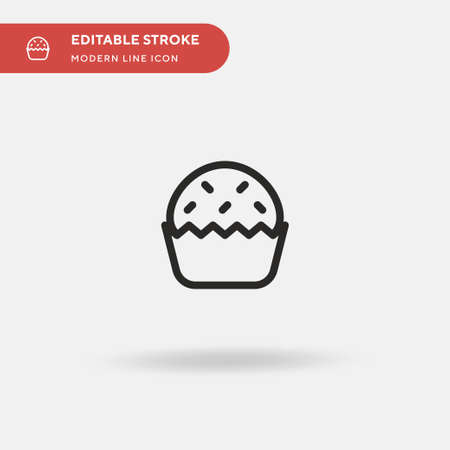 Cupcake Simple vector icon. Illustration symbol design template for web mobile UI element. Perfect color modern pictogram on editable stroke. Cupcake icons for your business project