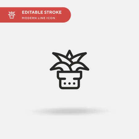 Aloe Vera Simple vector icon. Illustration symbol design template for web mobile UI element. Perfect color modern pictogram on editable stroke. Aloe Vera icons for your business project  イラスト・ベクター素材