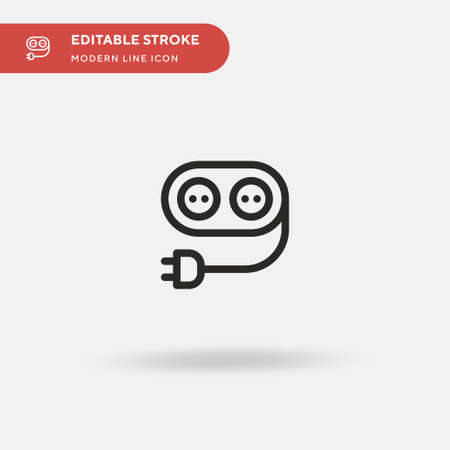 Extension Cord Simple vector icon. Illustration symbol design template for web mobile UI element. Perfect color modern pictogram on editable stroke. Extension Cord icons for your business project Иллюстрация