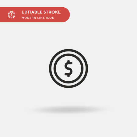 Coin Simple vector icon. Illustration symbol design template for web mobile UI element. Perfect color modern pictogram on editable stroke. Coin icons for your business project