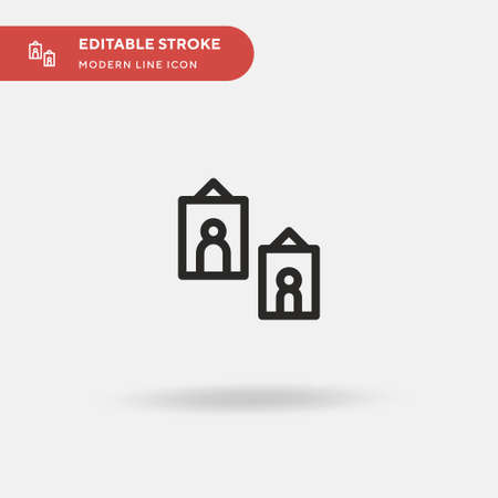 Pictures Simple vector icon. Illustration symbol design template for web mobile UI element. Perfect color modern pictogram on editable stroke. Pictures icons for your business project