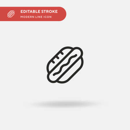 Hot Dog Simple vector icon. Illustration symbol design template for web mobile UI element. Perfect color modern pictogram on editable stroke. Hot Dog icons for your business project Ilustracja