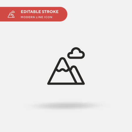 Mountains Simple vector icon. Illustration symbol design template for web mobile UI element. Perfect color modern pictogram on editable stroke. Mountains icons for your business project