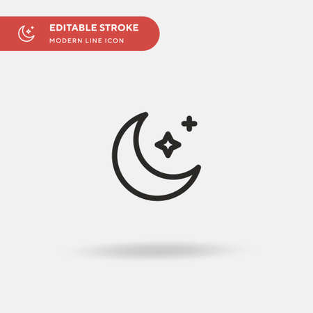 Moon Simple vector icon. Illustration symbol design template for web mobile UI element. Perfect color modern pictogram on editable stroke. Moon icons for your business project