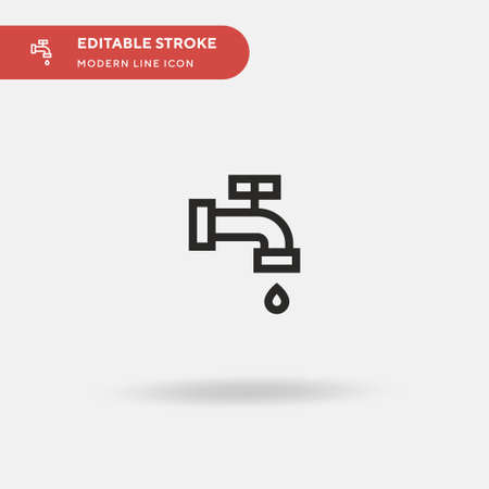 Water Pipe Simple vector icon. Illustration symbol design template for web mobile UI element. Perfect color modern pictogram on editable stroke. Water Pipe icons for your business project