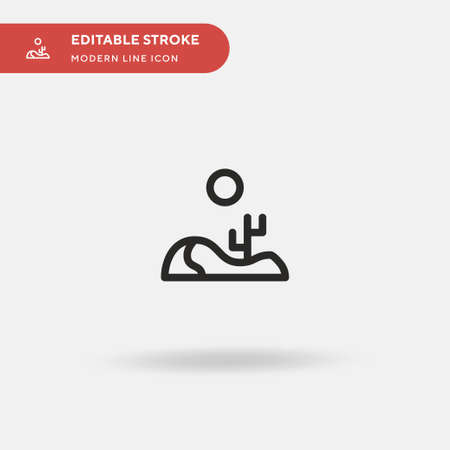 Desert Simple vector icon. Illustration symbol design template for web mobile UI element. Perfect color modern pictogram on editable stroke. Desert icons for your business project Ilustração
