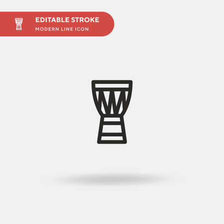 African Drum Simple vector icon. Illustration symbol design template for web mobile UI element. Perfect color modern pictogram on editable stroke. African Drum icons for your business project