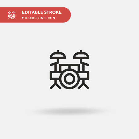 Drum Set Simple vector icon. Illustration symbol design template for web mobile UI element. Perfect color modern pictogram on editable stroke. Drum Set icons for your business project
