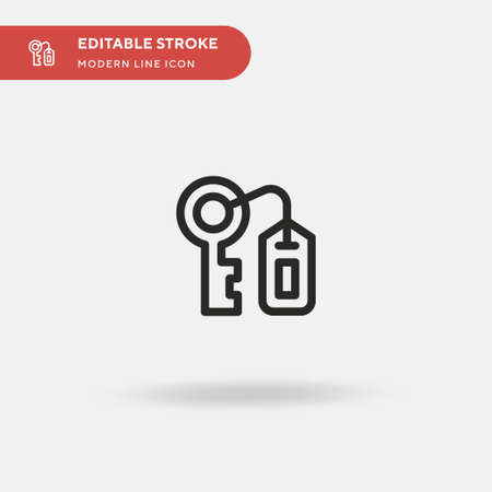 Room Key Simple vector icon. Illustration symbol design template for web mobile UI element. Perfect color modern pictogram on editable stroke. Room Key icons for your business project