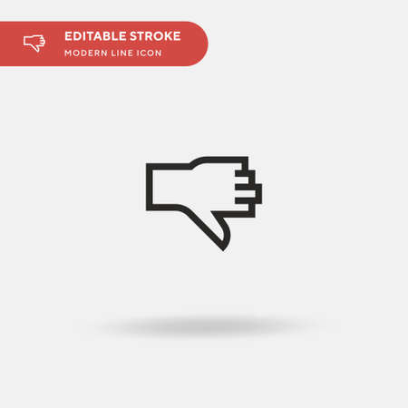 Thumbs Down Simple vector icon. Illustration symbol design template for web mobile UI element. Perfect color modern pictogram on editable stroke. Thumbs Down icons for your business project Ilustração
