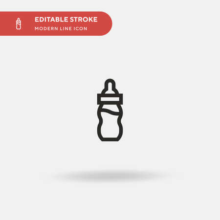 Baby Bottle Simple vector icon. Illustration symbol design template for web mobile UI element. Perfect color modern pictogram on editable stroke. Baby Bottle icons for your business project