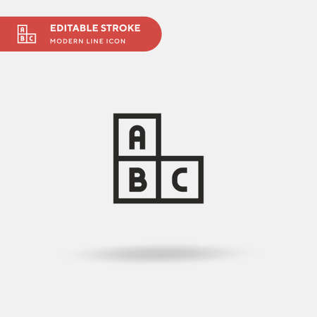 Abc Block Simple vector icon. Illustration symbol design template for web mobile UI element. Perfect color modern pictogram on editable stroke. Abc Block icons for your business project