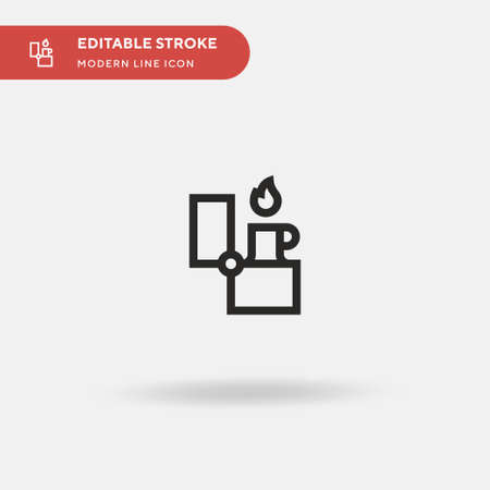 Fire Lighter Simple vector icon. Illustration symbol design template for web mobile UI element. Perfect color modern pictogram on editable stroke. Fire Lighter icons for your business project