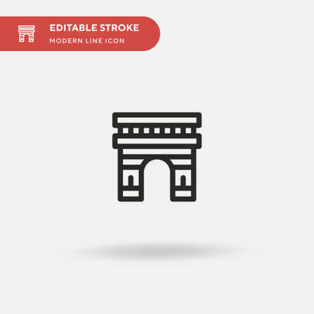 Arc De Triomphe Simple vector icon. Illustration symbol design template for web mobile UI element. Perfect color modern pictogram on editable stroke. Arc De Triomphe icons for your business project 矢量图像
