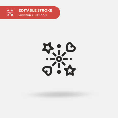 Fireworks Simple vector icon. Illustration symbol design template for web mobile UI element. Perfect color modern pictogram on editable stroke. Fireworks icons for your business project