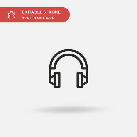 Headphones Simple vector icon. Illustration symbol design template for web mobile UI element. Perfect color modern pictogram on editable stroke. Headphones icons for your business project