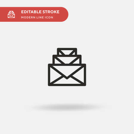 Emails Simple vector icon. Illustration symbol design template for web mobile UI element. Perfect color modern pictogram on editable stroke. Emails icons for your business project