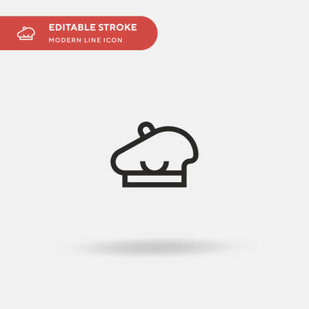 Beret Simple vector icon. Illustration symbol design template for web mobile UI element. Perfect color modern pictogram on editable stroke. Beret icons for your business project Çizim