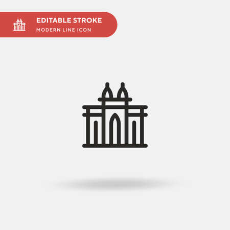 India Gate Simple vector icon. Illustration symbol design template for web mobile UI element. Perfect color modern pictogram on editable stroke. India Gate icons for your business project 矢量图像
