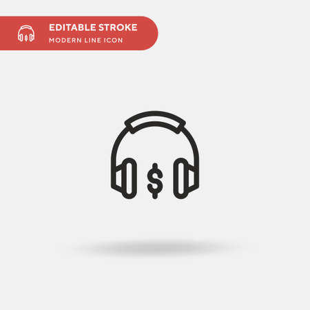 Earphones Simple vector icon. Illustration symbol design template for web mobile UI element. Perfect color modern pictogram on editable stroke. Earphones icons for your business project