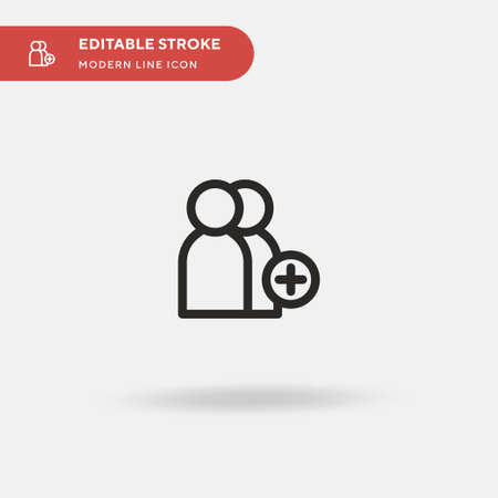 Add User Simple vector icon. Illustration symbol design template for web mobile UI element. Perfect color modern pictogram on editable stroke. Add User icons for your business project Ilustracja