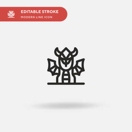Dragon Simple vector icon. Illustration symbol design template for web mobile UI element. Perfect color modern pictogram on editable stroke. Dragon icons for your business project