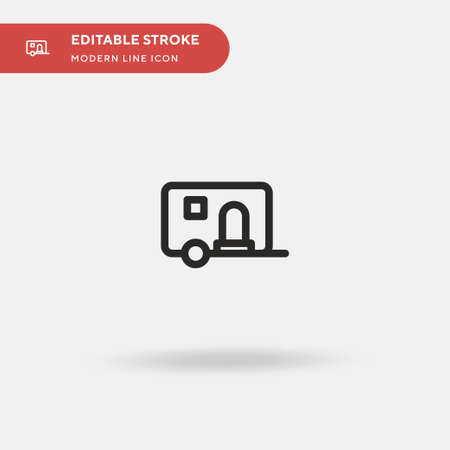 Caravan Simple vector icon. Illustration symbol design template for web mobile UI element. Perfect color modern pictogram on editable stroke. Caravan icons for your business project