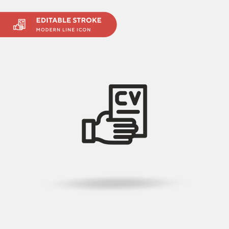 Cv Simple vector icon. Illustration symbol design template for web mobile UI element. Perfect color modern pictogram on editable stroke. Cv icons for your business project Illustration