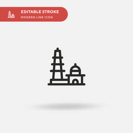 Qutb Minar Simple vector icon. Illustration symbol design template for web mobile UI element. Perfect color modern pictogram on editable stroke. Qutb Minar icons for your business project