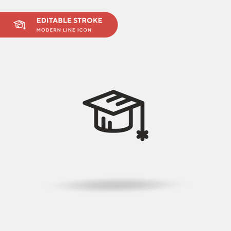 Mortarboard Simple vector icon. Illustration symbol design template for web mobile UI element. Perfect color modern pictogram on editable stroke. Mortarboard icons for your business project Ilustrace