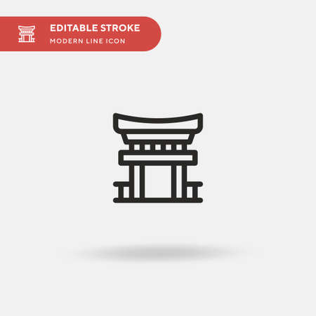 Torii Gate Simple vector icon. Illustration symbol design template for web mobile UI element. Perfect color modern pictogram on editable stroke. Torii Gate icons for your business project