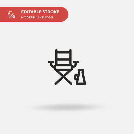 Directors Chair Simple vector icon. Illustration symbol design template for web mobile UI element. Perfect color modern pictogram on editable stroke. Directors Chair icons for your business project  イラスト・ベクター素材