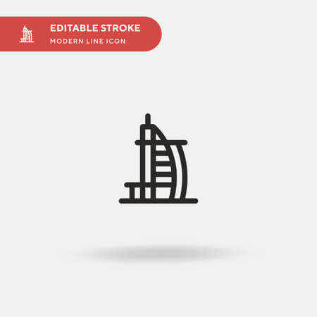 Burj Al Arab Simple vector icon. Illustration symbol design template for web mobile UI element. Perfect color modern pictogram on editable stroke. Burj Al Arab icons for your business project