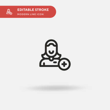 Add Contact Simple vector icon. Illustration symbol design template for web mobile UI element. Perfect color modern pictogram on editable stroke. Add Contact icons for your business project Ilustracja