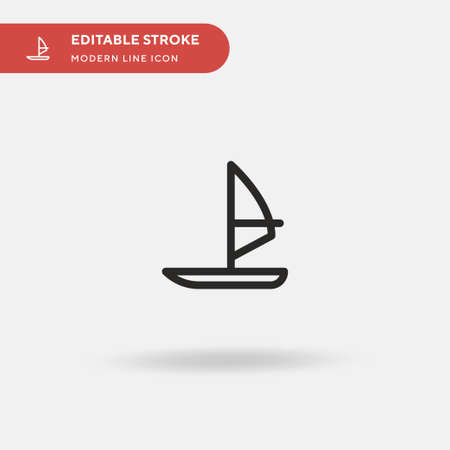 Windsurf Simple vector icon. Illustration symbol design template for web mobile UI element. Perfect color modern pictogram on editable stroke. Windsurf icons for your business project Stock Illustratie