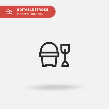 Sand Bucket Simple vector icon. Illustration symbol design template for web mobile UI element. Perfect color modern pictogram on editable stroke. Sand Bucket icons for your business project