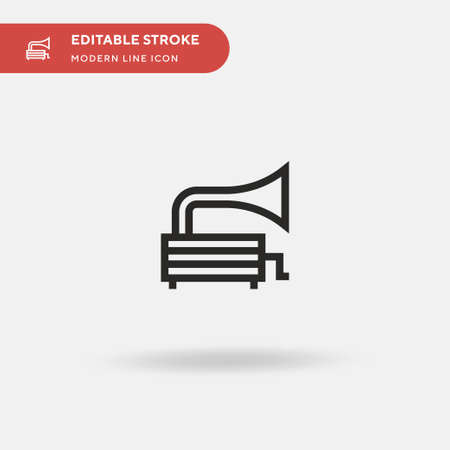 Gramophone Simple vector icon. Illustration symbol design template for web mobile UI element. Perfect color modern pictogram on editable stroke. Gramophone icons for your business project