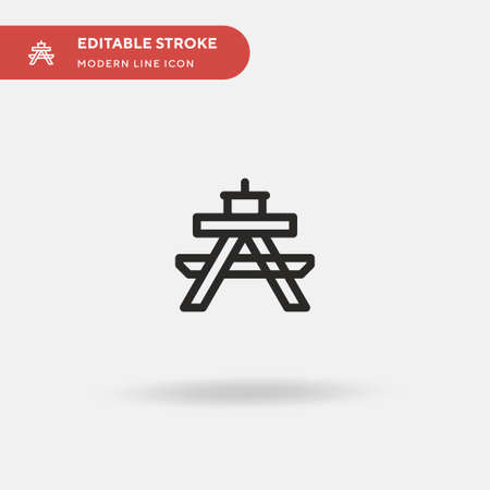 Picnic Table Simple vector icon. Illustration symbol design template for web mobile UI element. Perfect color modern pictogram on editable stroke. Picnic Table icons for your business project Çizim
