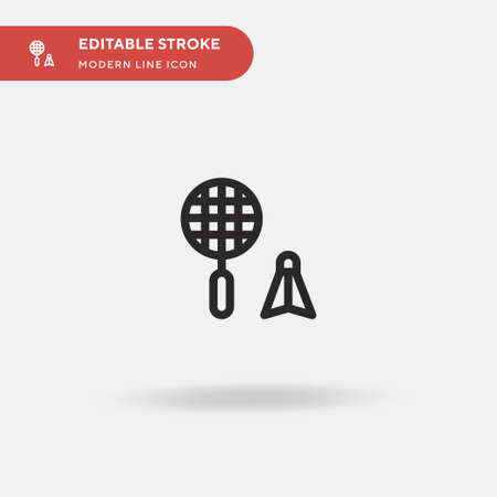 Badminton Simple vector icon. Illustration symbol design template for web mobile UI element. Perfect color modern pictogram on editable stroke. Badminton icons for your business project