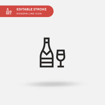 Champagne Simple vector icon. Illustration symbol design template for web mobile UI element. Perfect color modern pictogram on editable stroke. Champagne icons for your business project