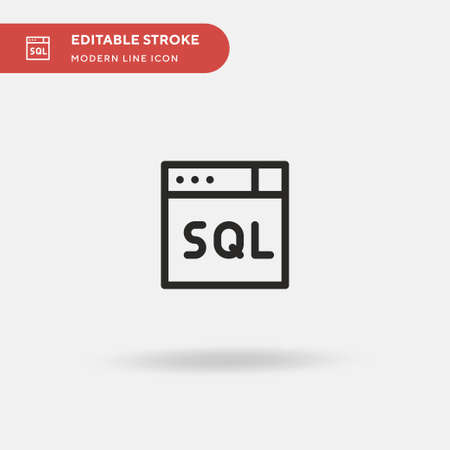 Sql Simple vector icon. Illustration symbol design template for web mobile UI element. Perfect color modern pictogram on editable stroke. Sql icons for your business project Illusztráció