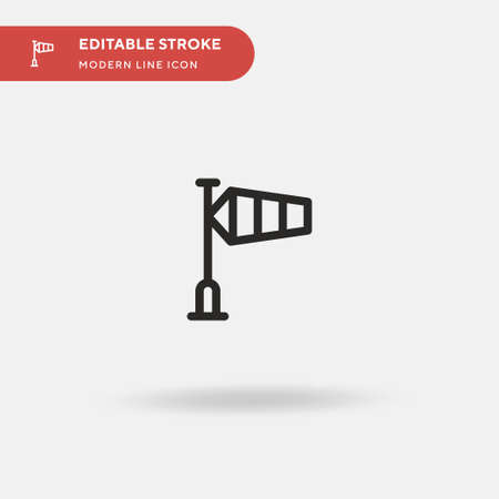 Wind Signal Simple vector icon. Illustration symbol design template for web mobile UI element. Perfect color modern pictogram on editable stroke. Wind Signal icons for your business project Vettoriali