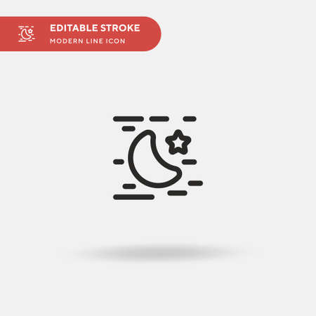 Night Simple vector icon. Illustration symbol design template for web mobile UI element. Perfect color modern pictogram on editable stroke. Night icons for your business project