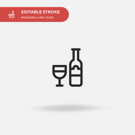 Wine Simple vector icon. Illustration symbol design template for web mobile UI element. Perfect color modern pictogram on editable stroke. Wine icons for your business project
