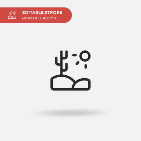 Desert Simple vector icon. Illustration symbol design template for web mobile UI element. Perfect color modern pictogram on editable stroke. Desert icons for your business project Ilustração