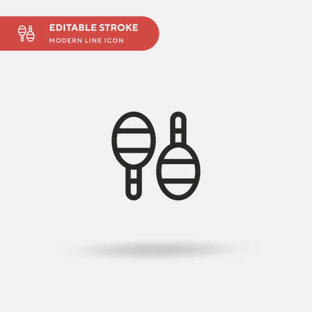 Maracas Simple vector icon. Illustration symbol design template for web mobile UI element. Perfect color modern pictogram on editable stroke. Maracas icons for your business project Ilustração