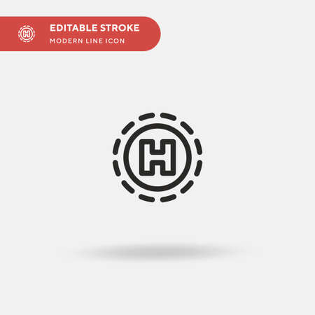 Heliport Simple vector icon. Illustration symbol design template for web mobile UI element. Perfect color modern pictogram on editable stroke. Heliport icons for your business project
