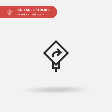 Turn Right Simple vector icon. Illustration symbol design template for web mobile UI element. Perfect color modern pictogram on editable stroke. Turn Right icons for your business project