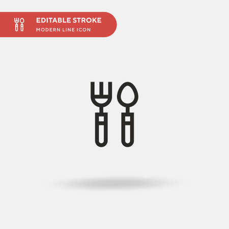 Cutlery Simple vector icon. Illustration symbol design template for web mobile UI element. Perfect color modern pictogram on editable stroke. Cutlery icons for your business project